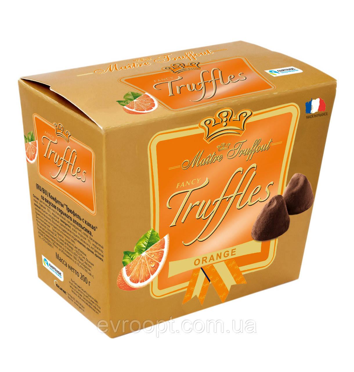"""Конфеты Truffles """"Трюфель с какао"""" со вкусом горького апельсина  Maitre Truffout Австрия 200 г"""