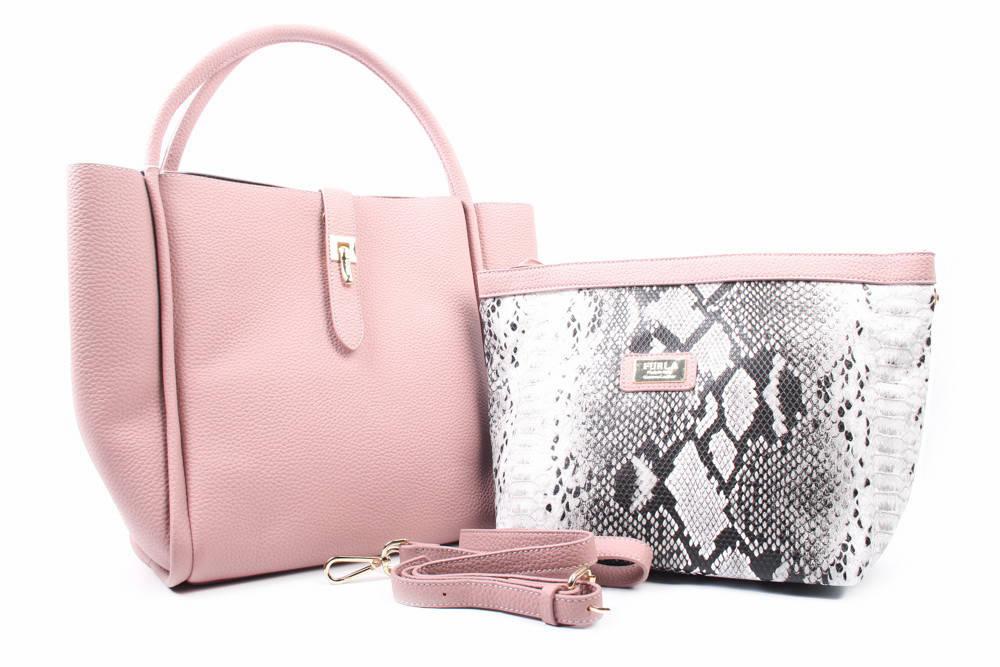 Сумка женская с косметичкой, эко-кожа, цвет розовый, большой размер, квадратная форма