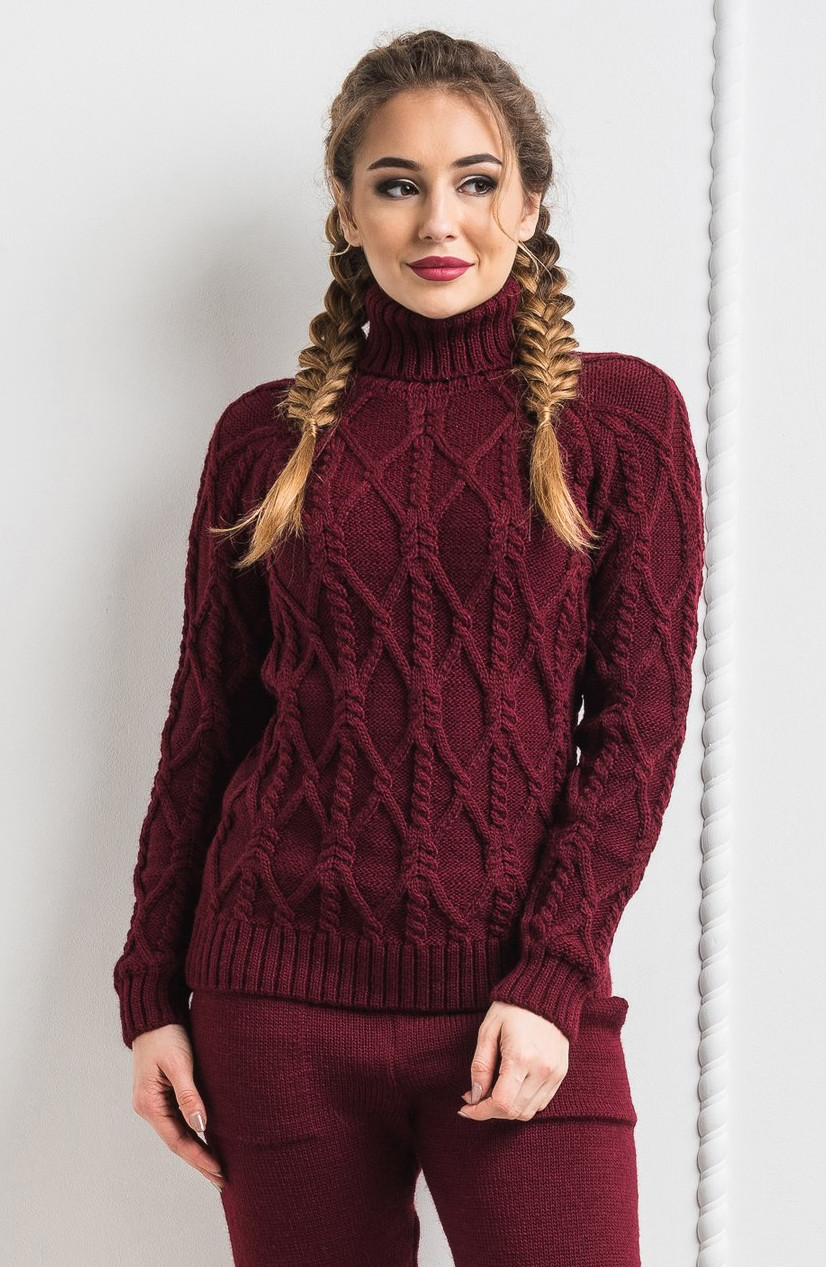 eca1288ac53 Женский тёплый вязанный шерстяной свитер. Бордовый