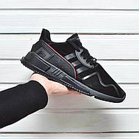 Мужские кроссовки Аdidas Еquipment adv черного цвета, кожаные + замшевые, мягкие, ТОП-реплика, фото 1