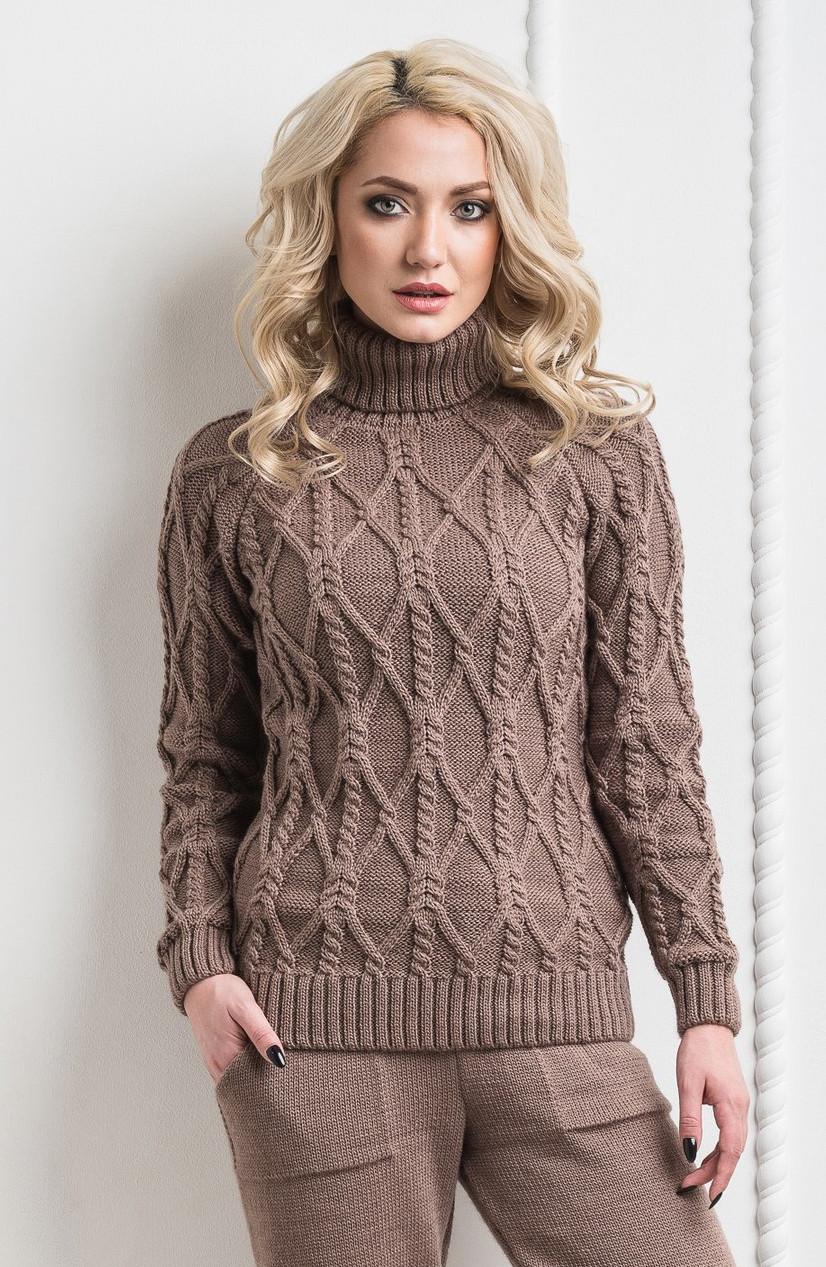 71d68fcbf3f Женский тёплый вязанный шерстяной свитер. Капучино