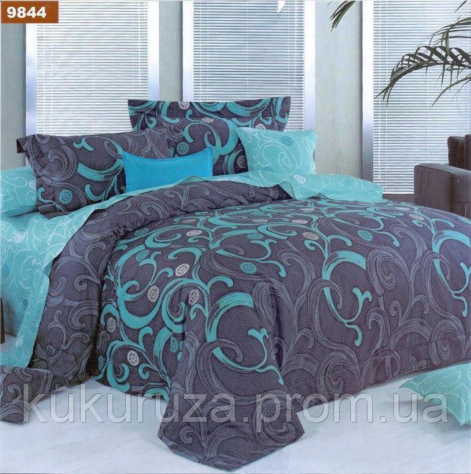 Семейный  комплект постельного белья из бязи Голд Бирюза