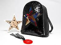Женский средний рюкзак с двухсторонними пайетками черного цвета