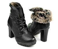 Женские утепленные ботинки на удобном каблуке
