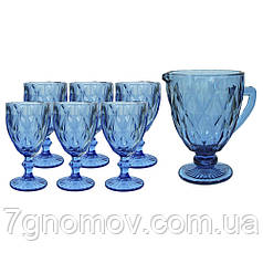 Набір 6 келихів з графіном з товстого синього скла Ізольда