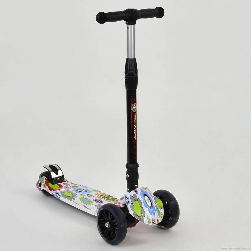 Самокат детский трехколесный складной Best Scooter Maxi 24716 со светящимися колесами