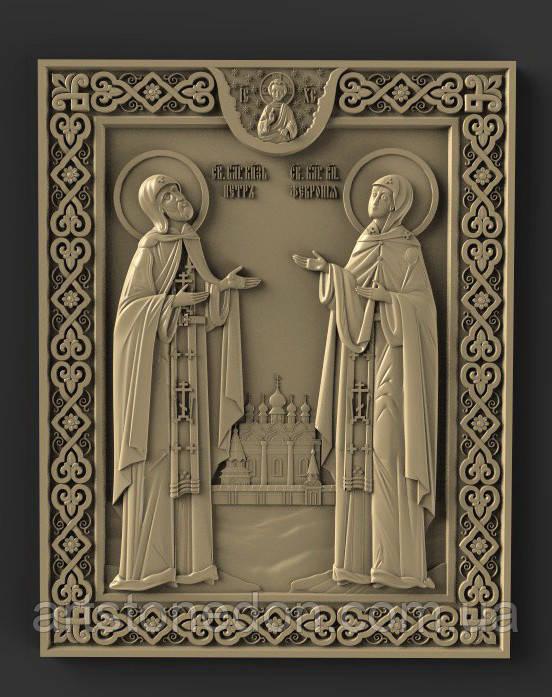 Икона резная Петр и Феврония №2