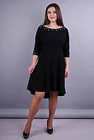 Лейла. Красивое женское платье плюс сайз. Сирень. 50, 52, 54, 56 черный