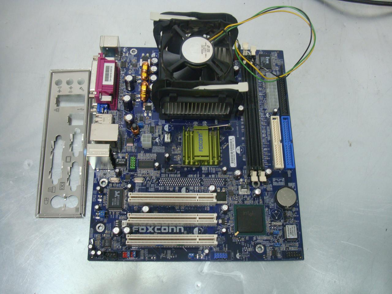 Материнская плата S478 Foxconn 845GV4MR-ES с процессором Celeron и оперативной памятью