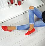 Женские эспадрильи Comfort красные кожаные, фото 3