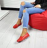 Женские эспадрильи Comfort красные кожаные, фото 4