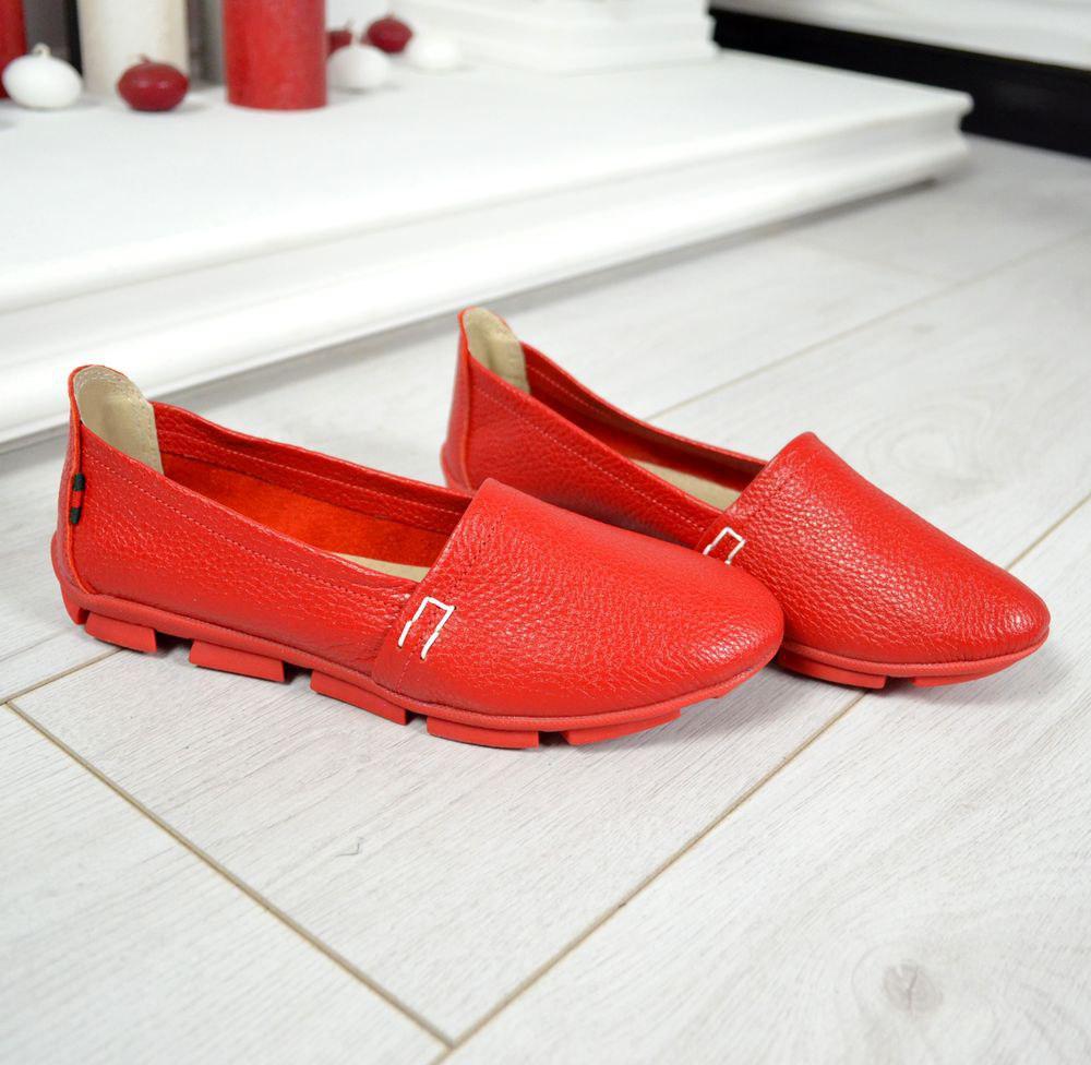Женские эспадрильи Comfort красные кожаные