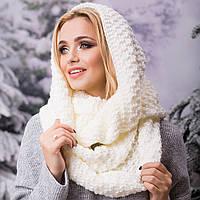 Вязаный шарф-хомут женский молочный, фото 1