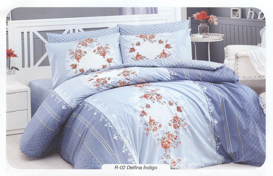 Комплект полуторного постельного белья First Choice Ranforce Delfina indigo