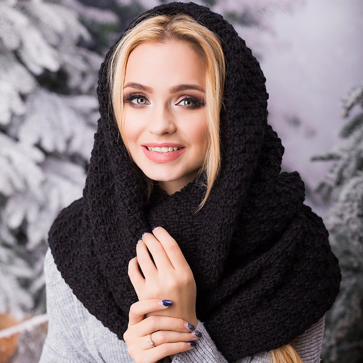 вязаный шарф хомут снуд женский черный Anna Bestcom