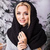 Вязаный шарф-хомут снуд женский черный
