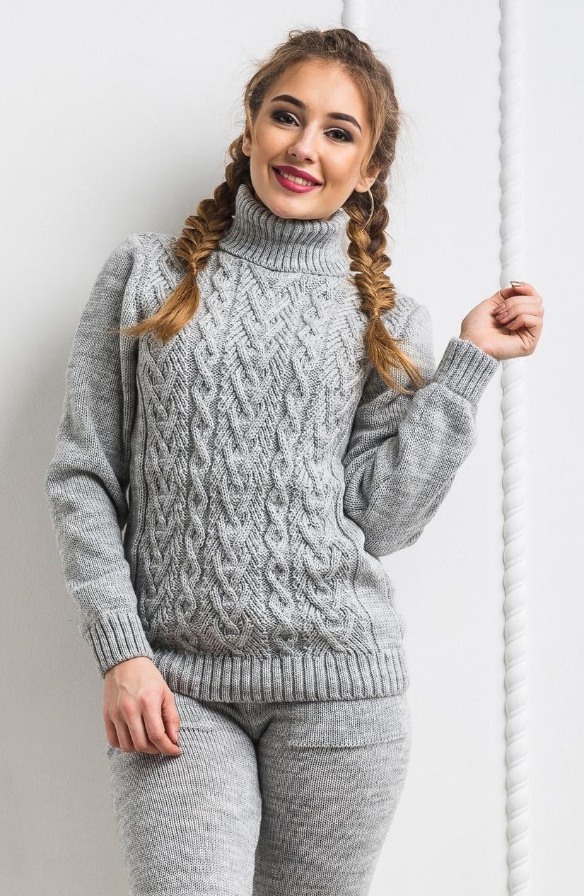 a33834e0593 Шерстяной вязанный тёплый свитер. Серый