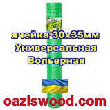 Сетка 2х100м зеленая ячейка 30х35мм вольерная пластиковая Универсальная, для птичников и вольеров, фото 3