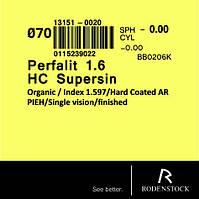 Утонченная полимерная линза Perfalit 1,6 HC Supersin марочная. Rodenstock (Германия)