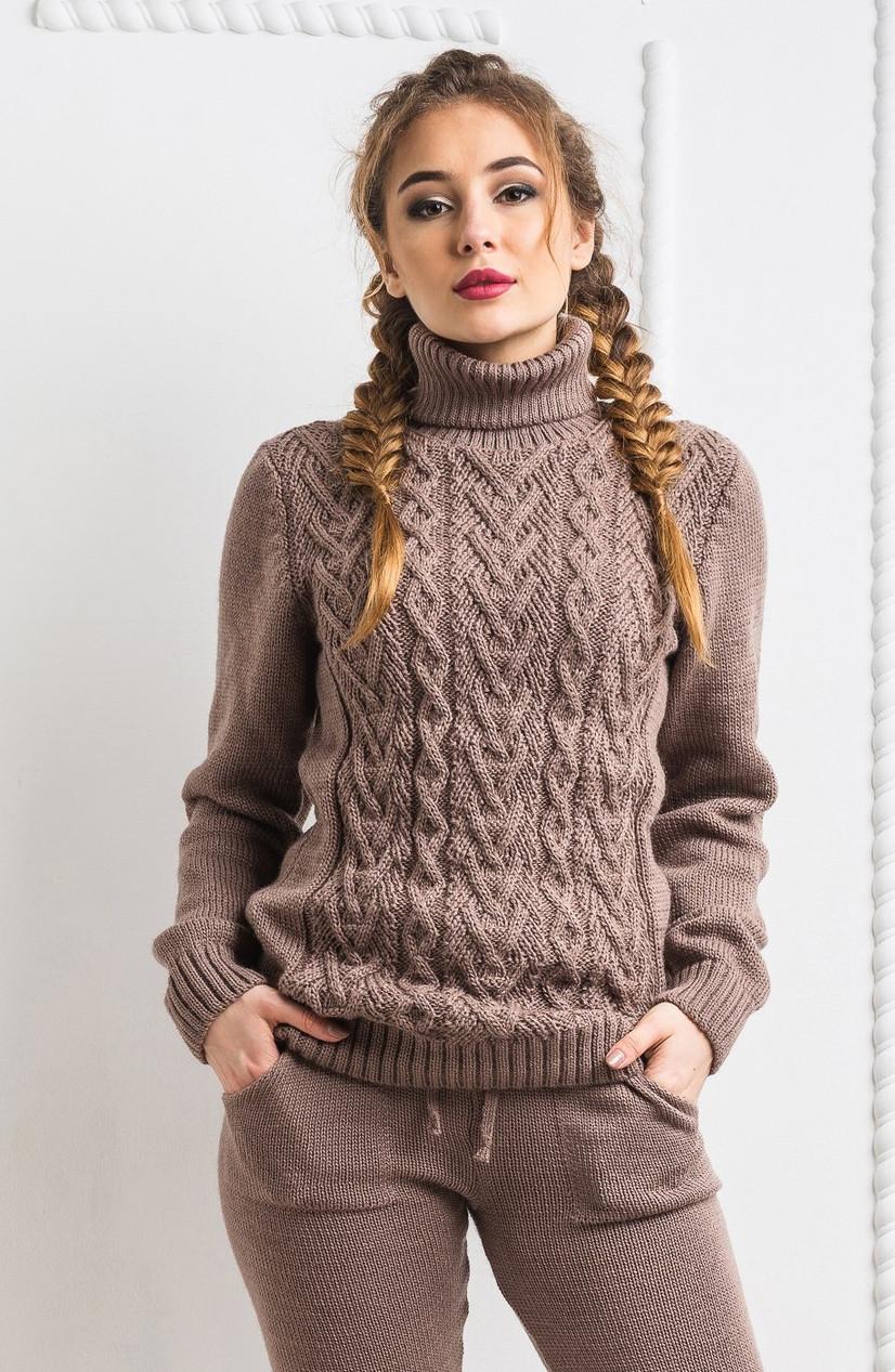dd0af9ac92b Шерстяной вязанный тёплый свитер. Капучино