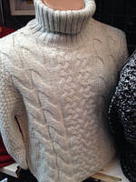Мужской теплый свитер под горло с двумя разновидностями вязки (2 цвета)