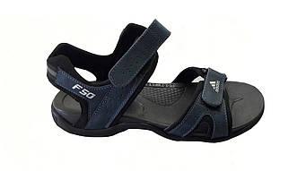 Мужские кожаные сандалии Adidas босоножки сандали  синий