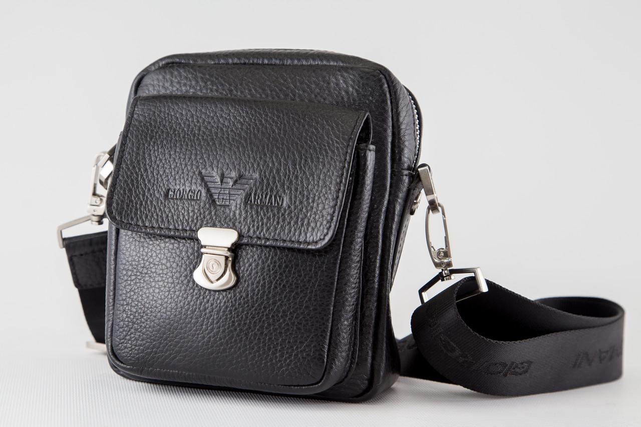 3cfd7e9f2321 Кожаная мужская сумка через плече черная Armani 557-2: продажа, цена ...