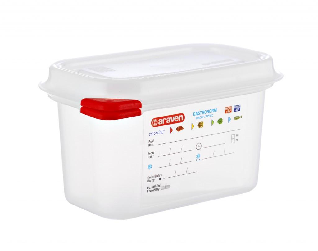 Емкость для хранения с крышкой 17,6х10,8х10 см, 1 л GN 1/9, полипропилен Araven