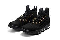 Детские баскетбольные кроссовки Nike LeBron 15 (black/gold), фото 1