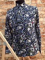 Мужская рубашка Турция синяя цветочный принт