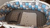 """Набор постельного белья дизайнерский: """"Бисквитная мягкость"""" 6-в-1, серо-бело-голубой со звездами"""