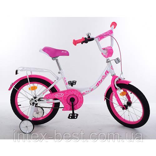 """Двухколесный велосипед PROFI Princess 14"""" (Y1414) с дополнительными колесиками"""
