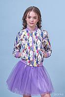 Комплект бомбер и юбка-для девочки Перья 8002-1 (р.140)