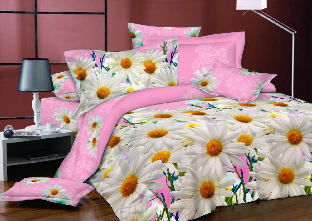 Двуспальный комплект постельного белья 180*220 из бязи Голд Ромашки pink