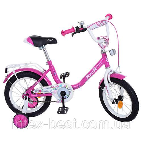 """Детский двухколесный велосипед PROFI Flower 14"""" Малиновый (Y1482)"""