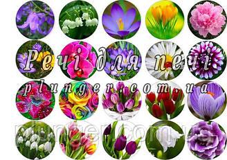 """Вафельная картинка для капкейков, пряников, топперов """"Цветы"""", (лист А4, толщина 0,4 мм)"""