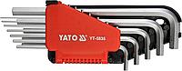 Ключи шестигранные Г-образные дюймовые, длинные, набор 12 шт, YATO