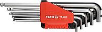 Ключи шестигранные Г-образные дюймовые, длинные с шариковой головкой, набор 12 шт, YATO