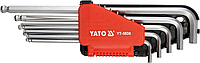 Ключи шестигранные Г-образные дюймовые, экстрадлинные с шариковой головкой, набор 12 шт, YATO