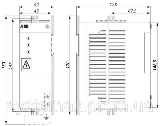 Габаритные и установочные размеры частотный преобразователь ABB ACS55-01N-09A8-2 2,2 кВт 220 В