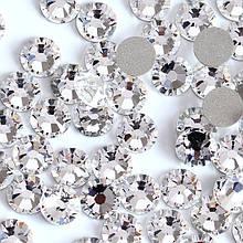 Стрази скляні Crystal, білі 100 шт. в пакетику (аналог Swarovski), ss3