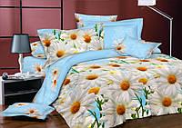 Евро комплект постельного белья 200*220 из бязи Голд Ромашки blue