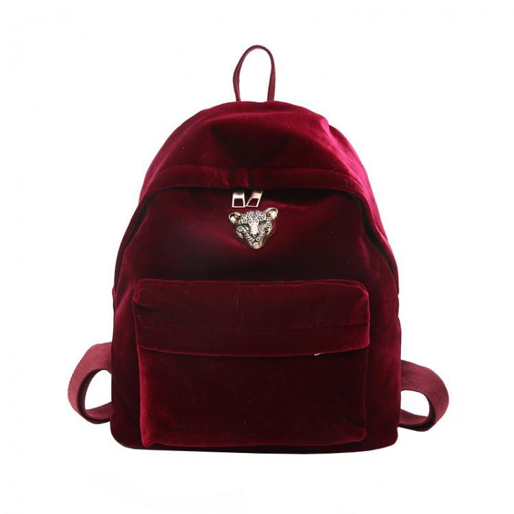 Рюкзак женский велюровый Adel Leopard красный eps-8064