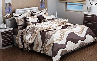 Полуторный комплект постельного белья 150х220 из бязи Голд Волна brown