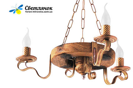 Деревянная люстра Колесо Кольцо состаренное светлое на 3 лампы, фото 2
