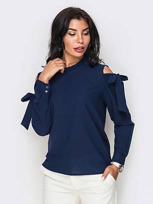 (XS, S, M, L) Жіноча темно-синя блузка з прорізами Gabriella