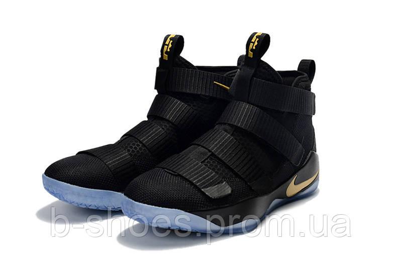 Детские баскетбольные кроссовки Nike LeBron Soldier 11 (black/gold)
