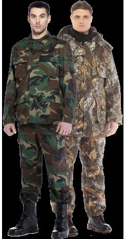 Камуфлированные, военные костюмы