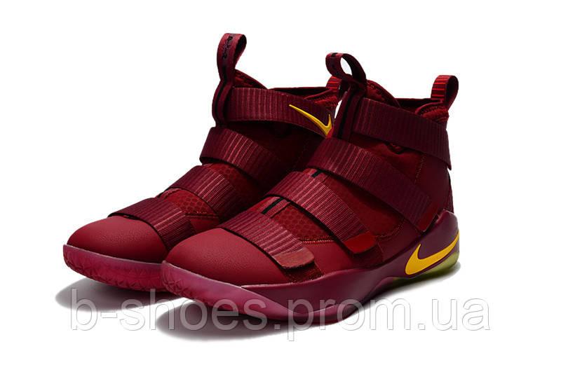 Детские баскетбольные кроссовки Nike LeBron Soldier 11 (wine red/yellow)