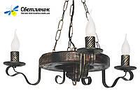 Деревянная люстра Колесо Кольцо состаренное темное на 3 лампы